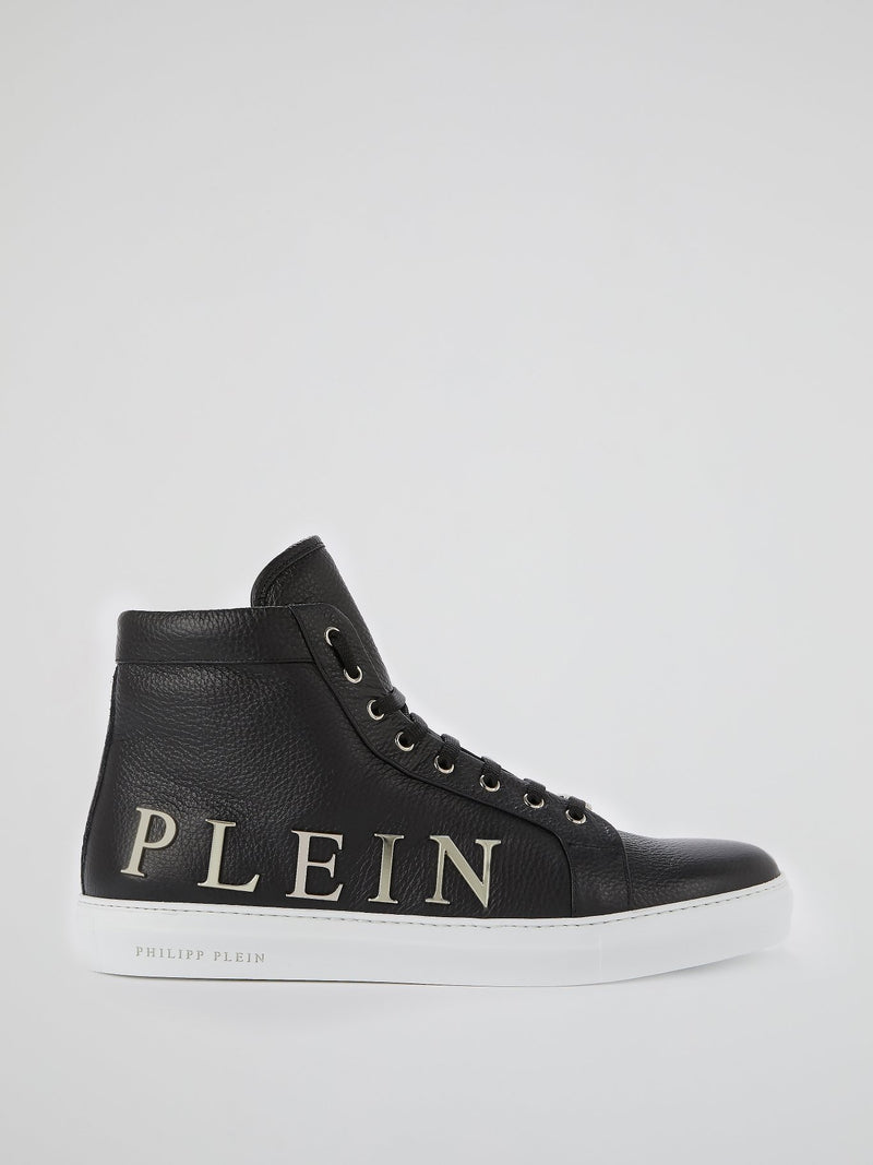 Black Logo Embellished High Top Sneakers