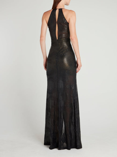 Black Snake Effect Wrap Maxi Dress