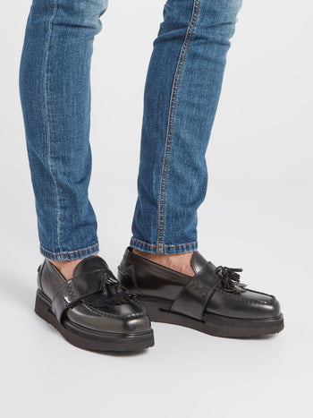 Black Platform Tassel Loafers