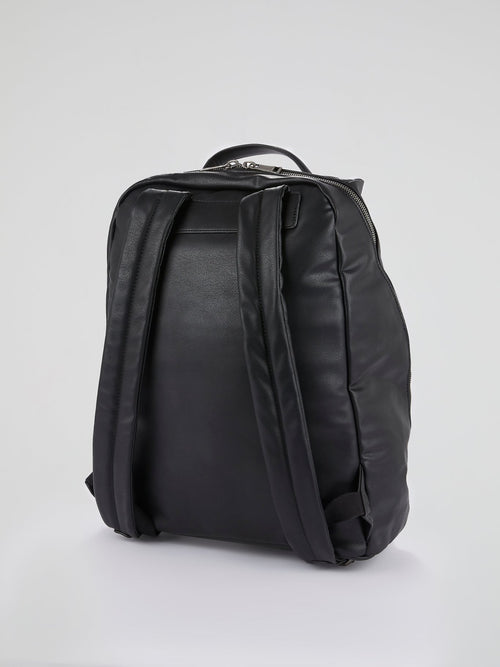 Black Logo Tape Leather Backpack