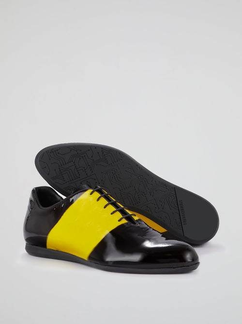 Yellow Stripe Oxford Shoes
