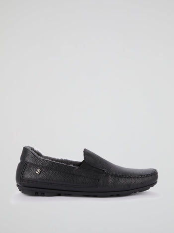 Black Fur Trim Moccasins