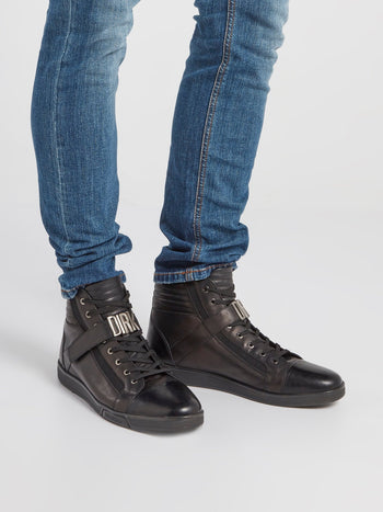 Black Logo Strap High Top Sneakers