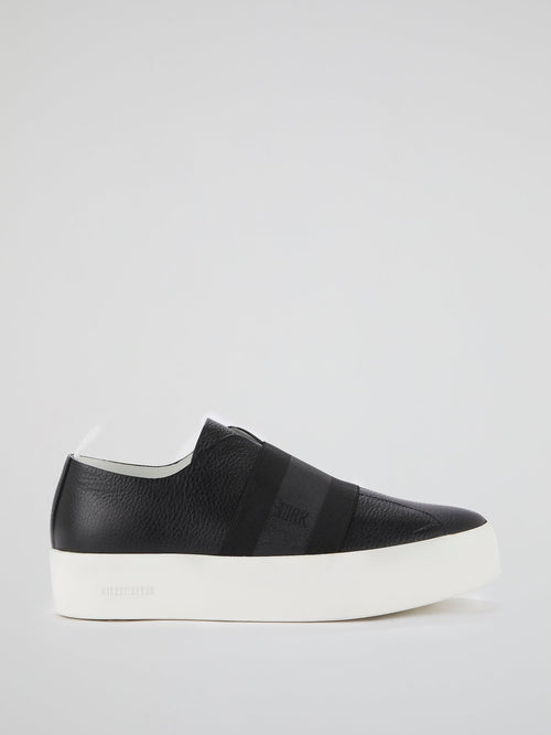 Black Elastic Strap Slip On Sneakers