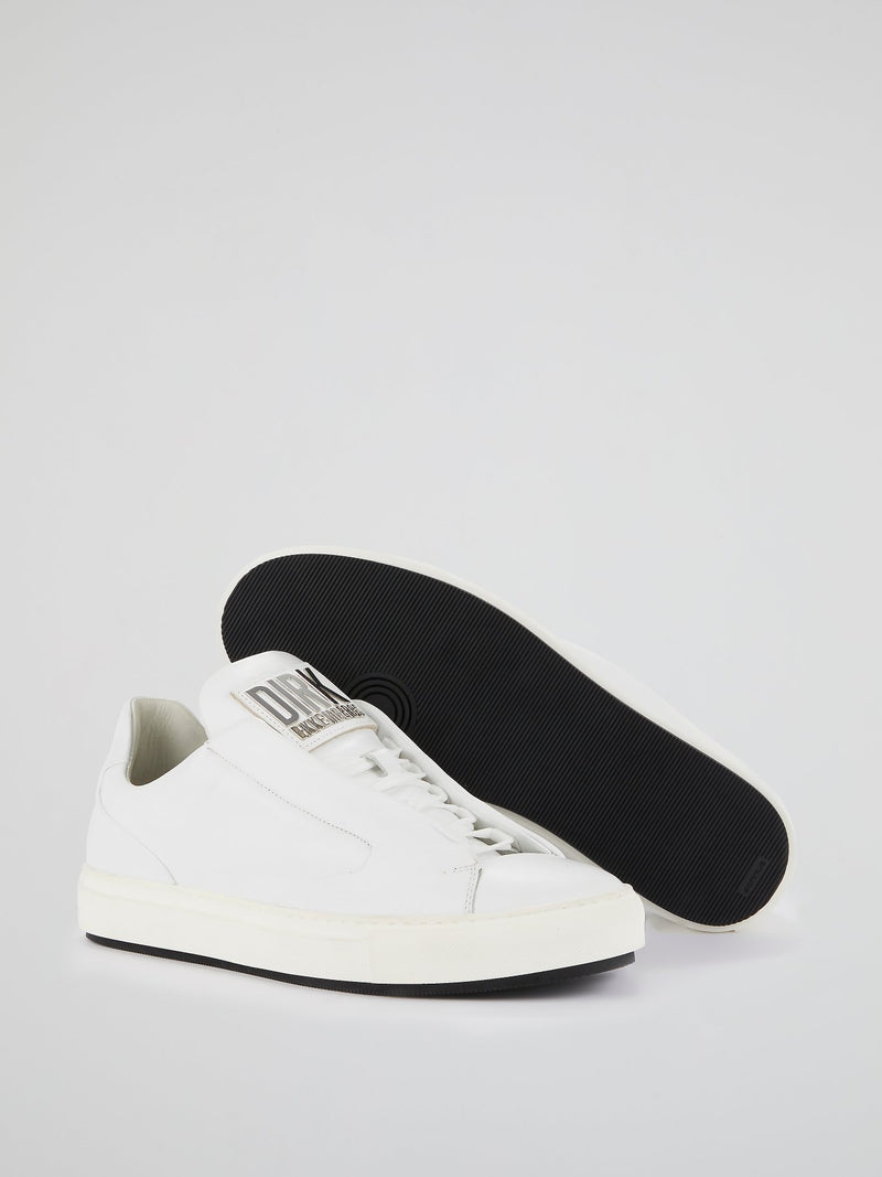 White Logo Flap Low Top Sneakers