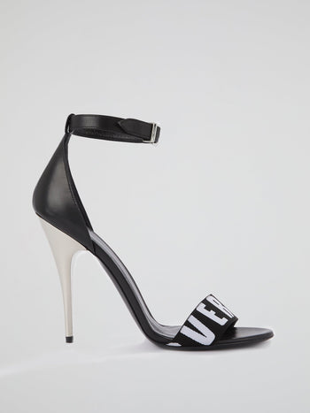 Black Logo High Heel Sandals