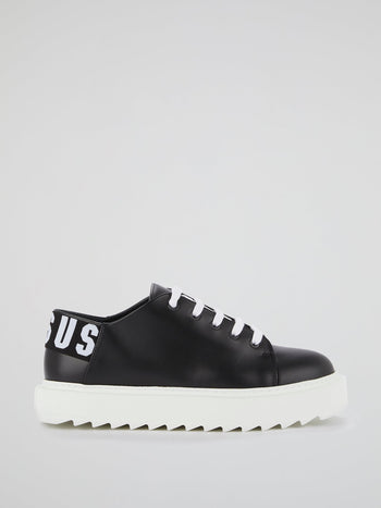 Black Rear Logo Platform Sneakers