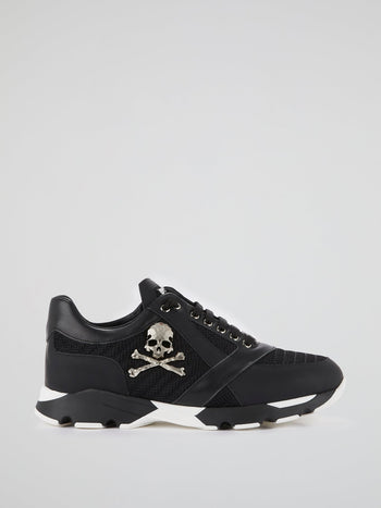 Black Mesh Panel Skull Trainers