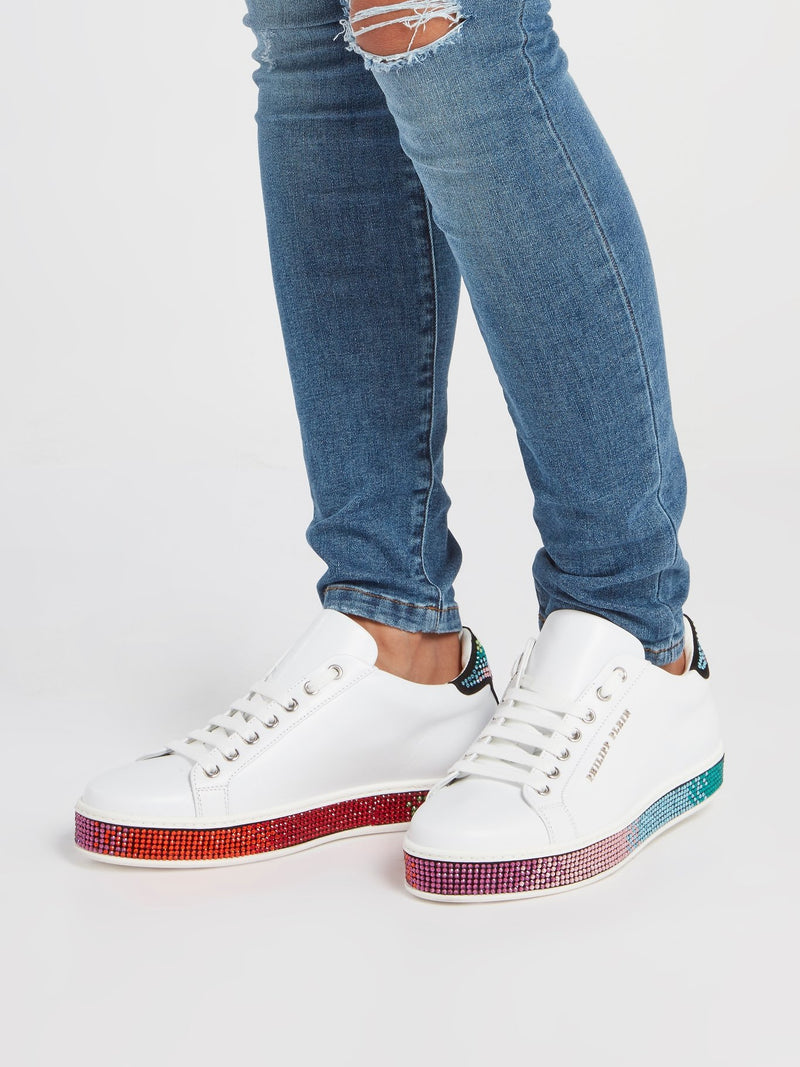 White Crystal Studded Low Top Sneakers