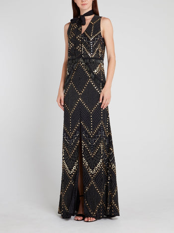 Black Multi-Stud Bow Tie Maxi Dress