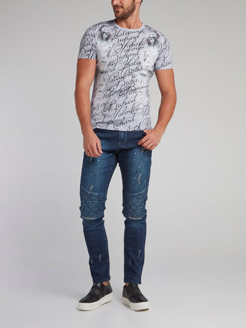 Antique Grey Printed T-Shirt
