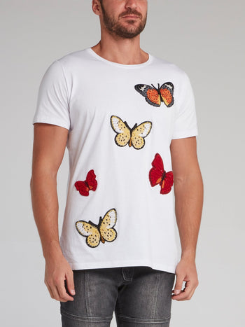 White Butterfly Patch T-Shirt