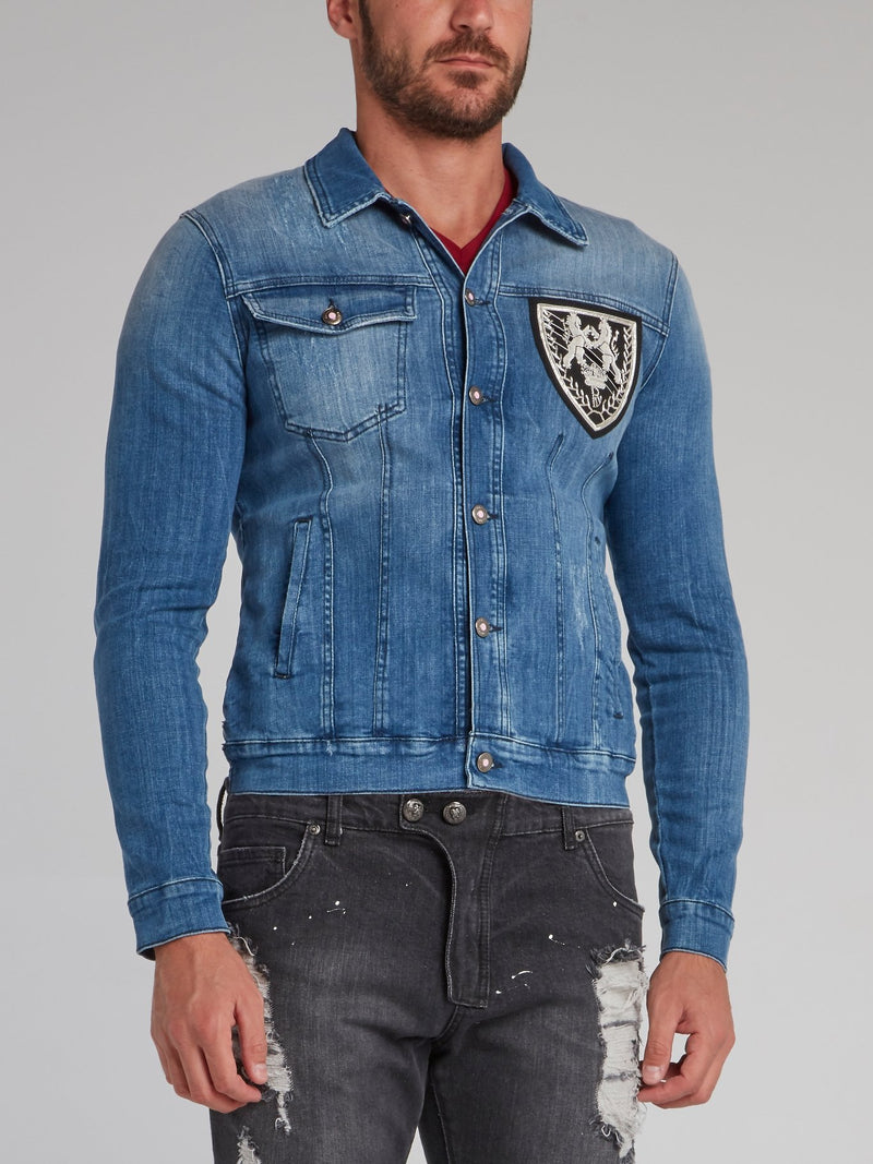 Erick Blue Distressed Denim Jacket