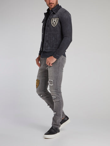 Erick Black Distressed Denim Jacket