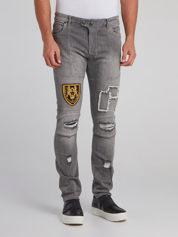 Feodor Grey Patched Slim Fit Jeans