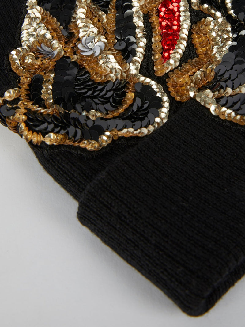 Black Multi-Sequin Beanie Cap