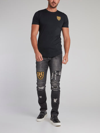 Feodor Black Patched Slim Fit Jeans
