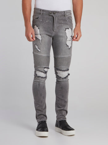 Haelay Grey Tattered Biker Jeans