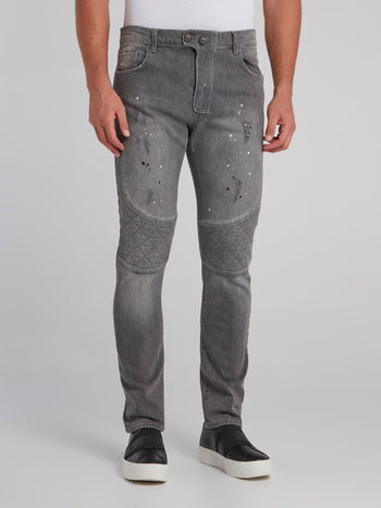 Grey Paint Splatter Biker Jeans