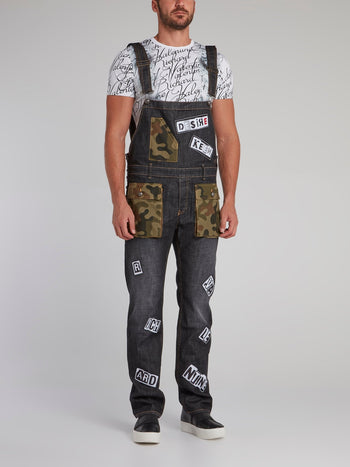 Jimmy Camo Patched Statement Dungarees