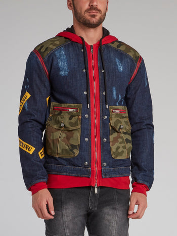 Meyer Navy Camo Patch Denim Jacket