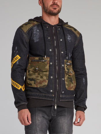 Meyer Black Camo Patch Denim Jacket