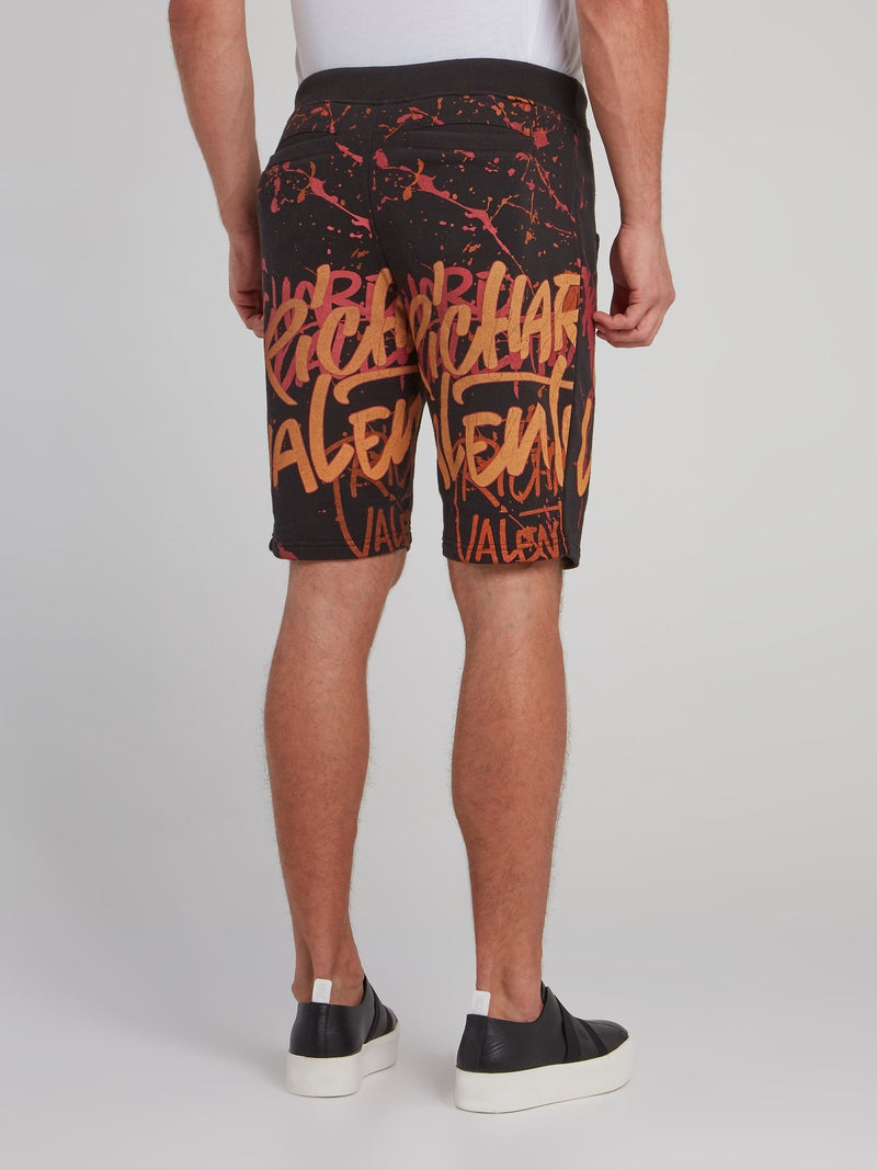 Black Paint Splatter Statement Shorts