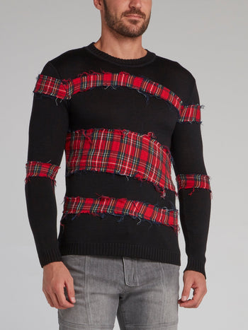Shane Black Check Panel Pullover