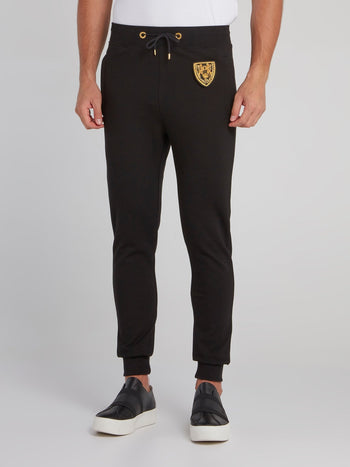 Black Appliquéd Jogging Trousers