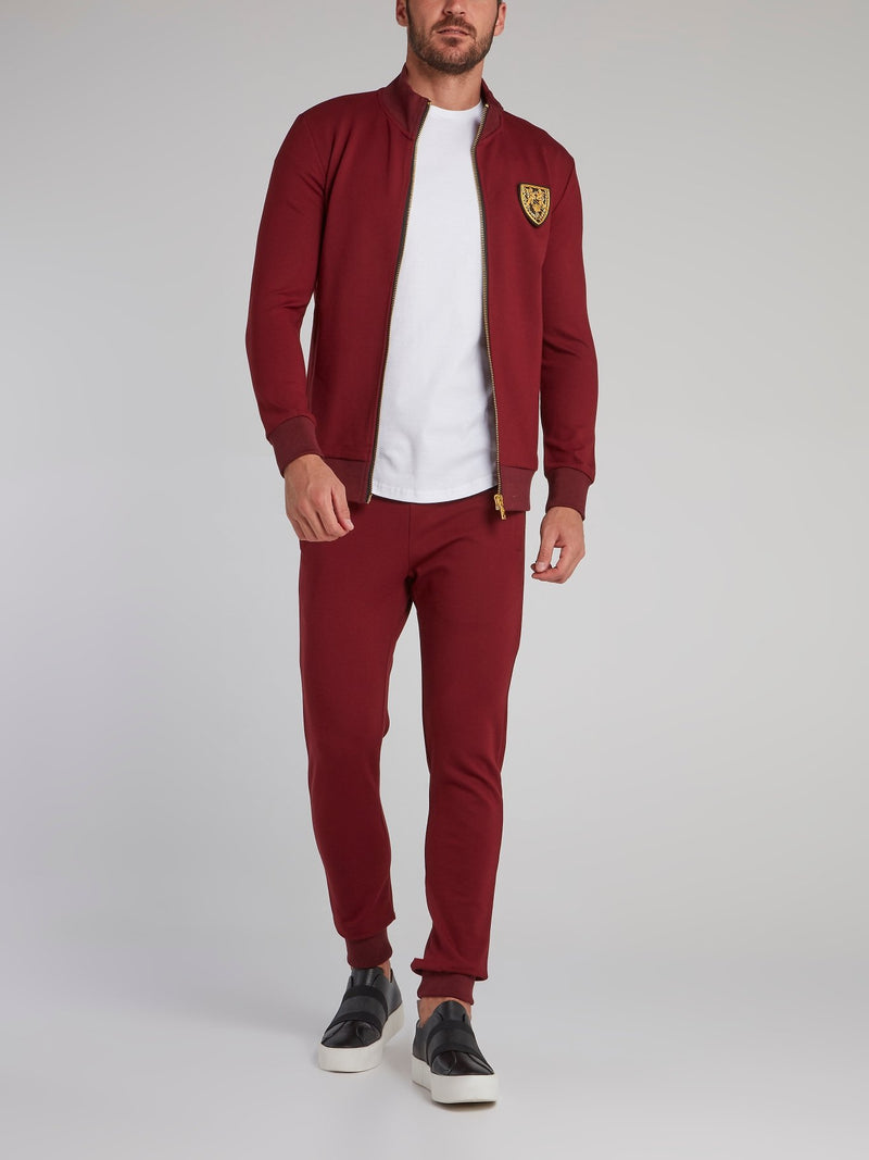 Burgundy Studded Logo Jogging Jacket
