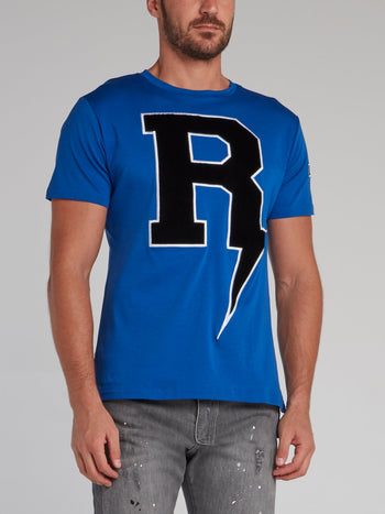 Thunderbolt Blue Embroidered T-Shirt