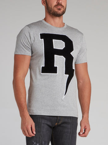 Thunderbolt Grey Embroidered T-Shirt