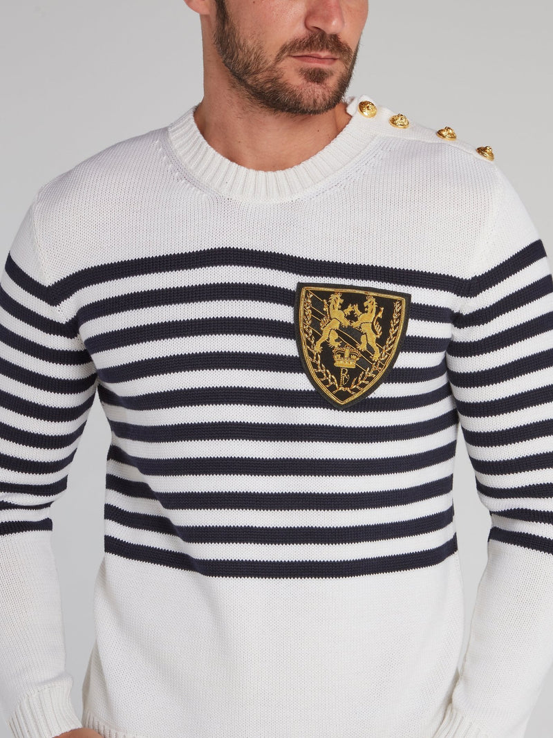 Vissarion White Striped Knit Pullover