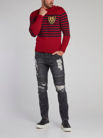 Vissarion Red Striped Knit Pullover