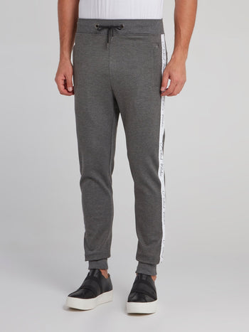 Grey Logo Tape Jogging Trousers