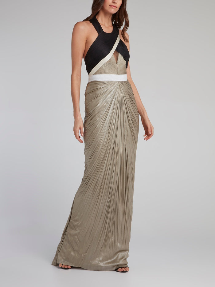 Metallic Ruched Halter Maxi Dress