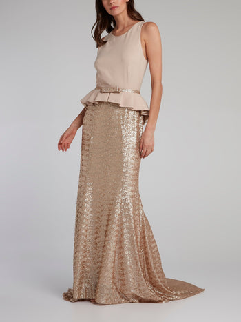 Gold Sequin Peplum Maxi dress