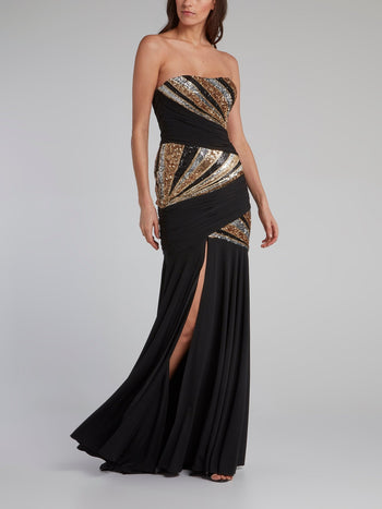 Pleated High Slit Sequin Maxi Dress