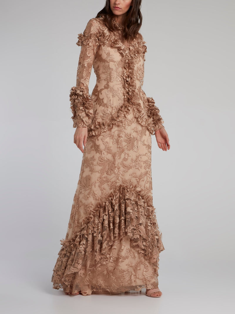 Gold Baroque Ruffle Lace Gown