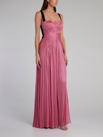 Pink High Slit Pleated Maxi Dress