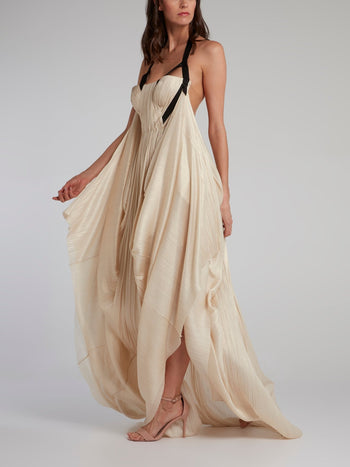 Beige Halter Neck Pleated Maxi Dress