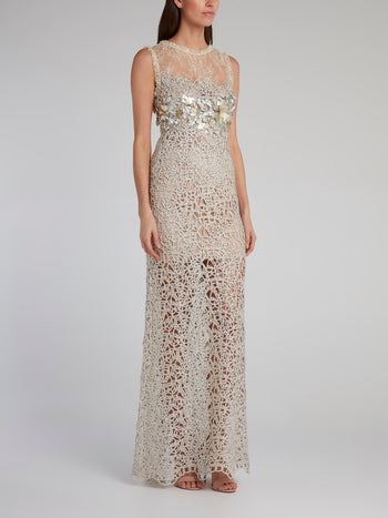 Silver Embellished Lace Maxi Dress