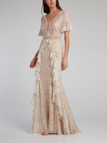 Gold Ruffle Detail Lace Trumpet Gown