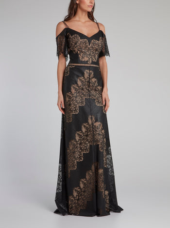 Black Lace Panel A-line Maxi Dress