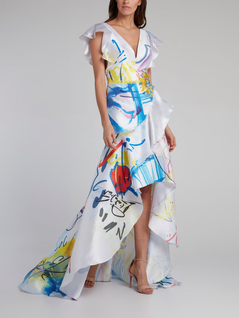 Watercolour Drop Neckline Ruffle Gown