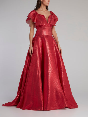 Red Flounce A-Line Evening Dress