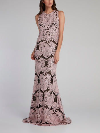 Purple Baroque Lace Evening Dress