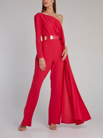 Pink Asymmetric Belted Jumpsuit