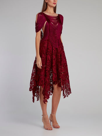 Burgundy Tassel Bodice Lace Midi Dress
