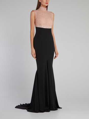 Sequin Lace Bodice Evening Dress